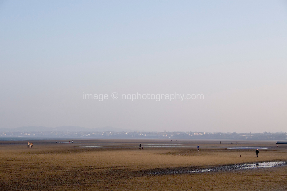 Sandymount Strand view towards Dun Laoghaire in Dublin Ireland