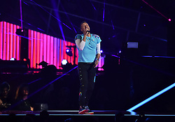 Chris Martin of Coldplay with the Chainsmokers on stage at the BRIT Awards 2017, held at The O2 Arena, in London.<br /><br />Picture date Tuesday February 22, 2017. Picture credit should read Matt Crossick/ EMPICS Entertainment. Editorial Use Only - No Merchandise.