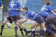 Twickenham, Surrey. UK., Ex Quins player and Bridgend Capt, Huw  works behind the scrum.  12.01.2002, during the, Harlequins vs Bridgend, Heineken Cup Rugby match at the Stoop Memorial Ground, [Mandatory Credit: Peter Spurrier/Intersport Images],