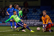 Cardiff City midfielder Josh Murphy (11) shot saved by Gillingham FC goalkeeper Tomas Holy (1) during the The FA Cup 3rd round match between Gillingham and Cardiff City at the MEMS Priestfield Stadium, Gillingham, England on 5 January 2019. Photo by Martin Cole.