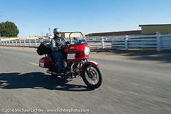 Paul Holdsworth rides his Harley-Davidson FXR during Stage 15 (244 miles) of the Motorcycle Cannonball Cross-Country Endurance Run, which on this day ran from Lewiston, Idaho to Yakima, WA, USA. Saturday, September 20, 2014.  Photography ©2014 Michael Lichter.