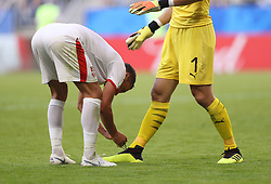 SAMARA, June 17, 2018  Serbia's Dusko Tosic (L) helps goalkeeoer Vladimir Stojkovic to lace up his shoes during a group E match between Costa Rica and Serbia at the 2018 FIFA World Cup in Samara, Russia, June 17, 2018. Serbia won 1-0. (Credit Image: © Fei Maohua/Xinhua via ZUMA Wire)