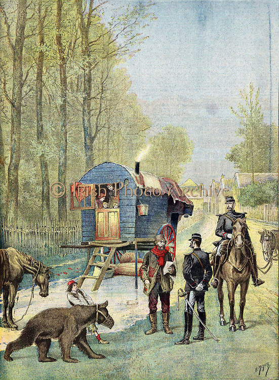 Gendarmes taking census forms to encampment of itinerant gipsies in their caravan. Boy in foreground leads muzzled 'dancing' bear. From 'Le Petit Journal' Paris, May 1895.