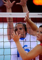 01-09-2012 ZITVOLLEYBAL: PARALYMPISCHE SPELEN 2012 USA - SLOVENIE: LONDEN.In ExCel South Arena wint USA van Slovenie /  Jasmina Zbil.©2012-FotoHoogendoorn.nl.