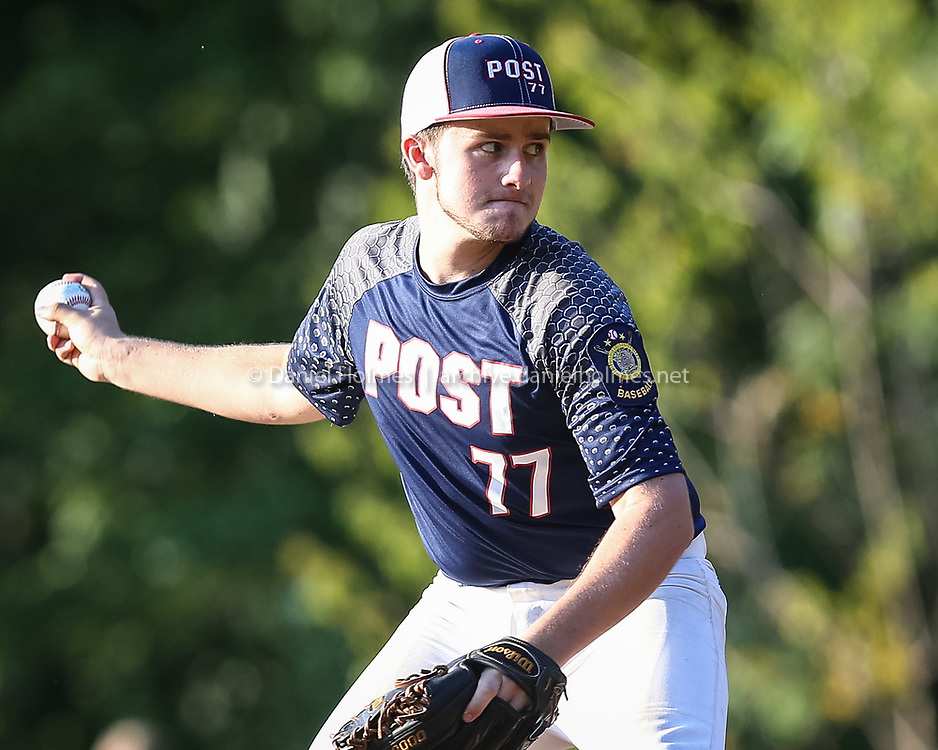 (6/20/16, ASHLAND, MA) Ashland Post 77's Devin Del Campo delivers a pitch during the American Legion baseball game against Lowell Post 87 at Ashland High School on Monday. Daily News and Wicked Local Photo/Dan Holmes