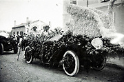 car made up with a swan for a automobile parade 1939s