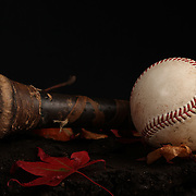An authentic Rawlings used baseball from the 2012 Major League Baseball season showing the red stitching and markings next to a bat handle in an Autumn scene. 16th May 2012. Photo Tim Clayton