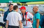 "Rio de Janeiro. BRAZIL.   2016 Olympic Rowing Regatta. Lagoa Stadium, Centre Red Cap GBR Wowen's Head Coach, Paul THOMPSON, <br /> Copacabana,  ""Olympic Summer Games""<br /> Rodrigo de Freitas Lagoon, Lagoa.   Saturday  13/08/2016 <br /> <br /> [Mandatory Credit; Peter SPURRIER/Intersport Images]"
