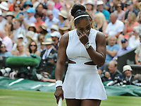 Tennis - 2019 Wimbledon Championships - Week Two, Saturday (Day Twelve)<br /> <br /> Women's Singles, Final: Serena Williams (USA) vs. Simona Halep (ROU)<br /> <br /> Serena Williams after losing the first four games of the match, on Centre Court.<br /> <br /> COLORSPORT/ANDREW COWIE