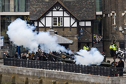 © Licensed to London News Pictures.10/04/2021. London, UK. The Honourable Artillery Company fire a salute at The Tower of London to mark the death Prince Philip. Gun salutes are taking place across the UK and on Royal Navy ships. Yesterday Buckingham Palace announced that Prince Philip The Duke of Edinburgh passed away in the morning at Windsor Castle . Photo credit: George Cracknell Wright/LNP