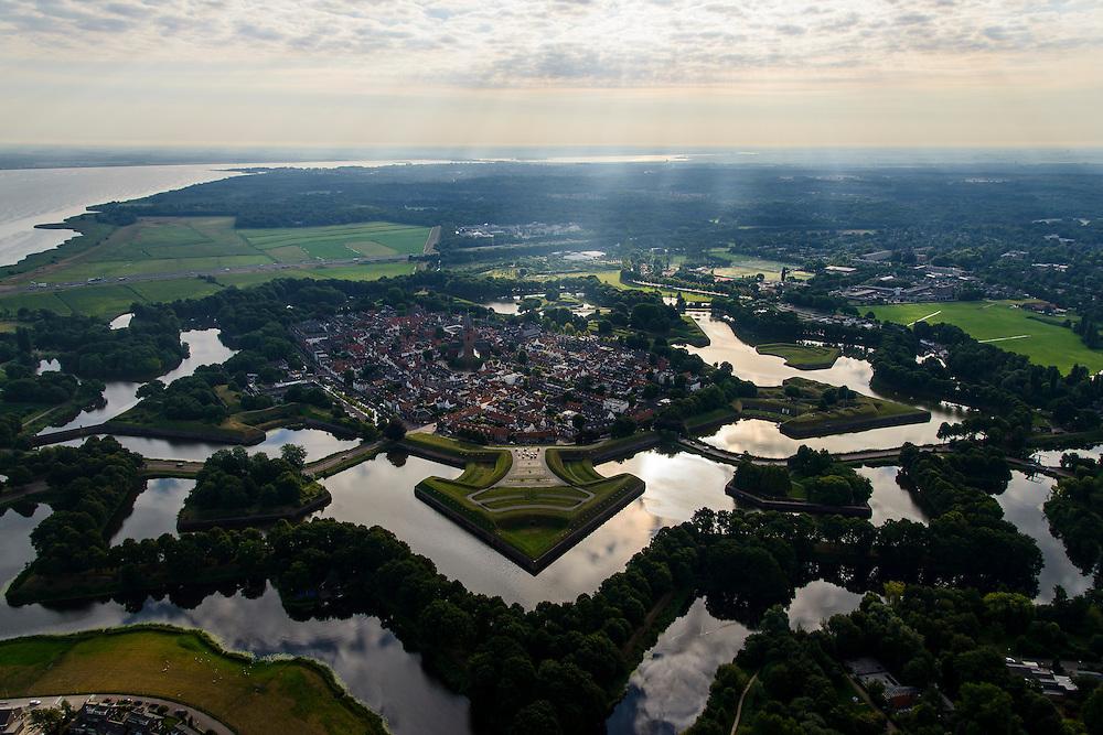 Nederland, Noord-Holland, Naarden, 27-08-2013; Naarden<br /> De vestingplaats Naarden, omringd door groen en bos, bij stemmig zonlicht. Links in de achtergrond het Gooimeer.<br /> The fortified town of Naarden.<br /> luchtfoto (toeslag op standaard tarieven);<br /> aerial photo (additional fee required);<br /> copyright foto/photo Siebe Swart.