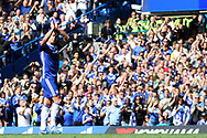 John Terry of Chelsea waves farewell to the Chelsea fans for the last time as he is substituted in the 26th minute. Premier league match, Chelsea v Sunderland at Stamford Bridge in London on Sunday 21st May 2017.<br /> pic by Steffan Bowen,  Andrew Orchard sports photography.
