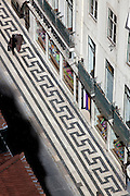 Typical portuguese pavement at Rua do Ouro in  Baixa district, seen from the walkway at the top of Elevador de Sta. Justa, in central Lisbon.