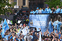 Football - Premier League - Manchester City Premier League Trophy Parade<br /> Sergio Aguero of Manchester City gives the thumbs up to fans