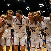 Mar 25, 2019 Stanford, CA, U.S.A. Stanford Cardinal forward Alanna Smith (11), center Shannon Coffee (2), forward Lacie Hull (24) guard DiJonai Carrington (21), guard Kiana Williams (23) celebrate a win after the NCAA Women's Basketball Championship Second Round between the BYU Cougars and the Stanford Cardinal. Stanford went on to win 72-63 at Maples Pavilion Stanford, CA. Thurman James /CSM