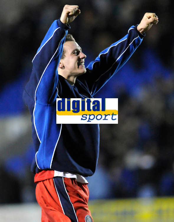 Photo: Paul Greenwood/Richard Lane Photography. Shrewbury Town v Wycombe Wanderers. Coca Cola Two. 20/12/2008. <br />Wycombe's Craig Woodman celebrates victory at the end of the match