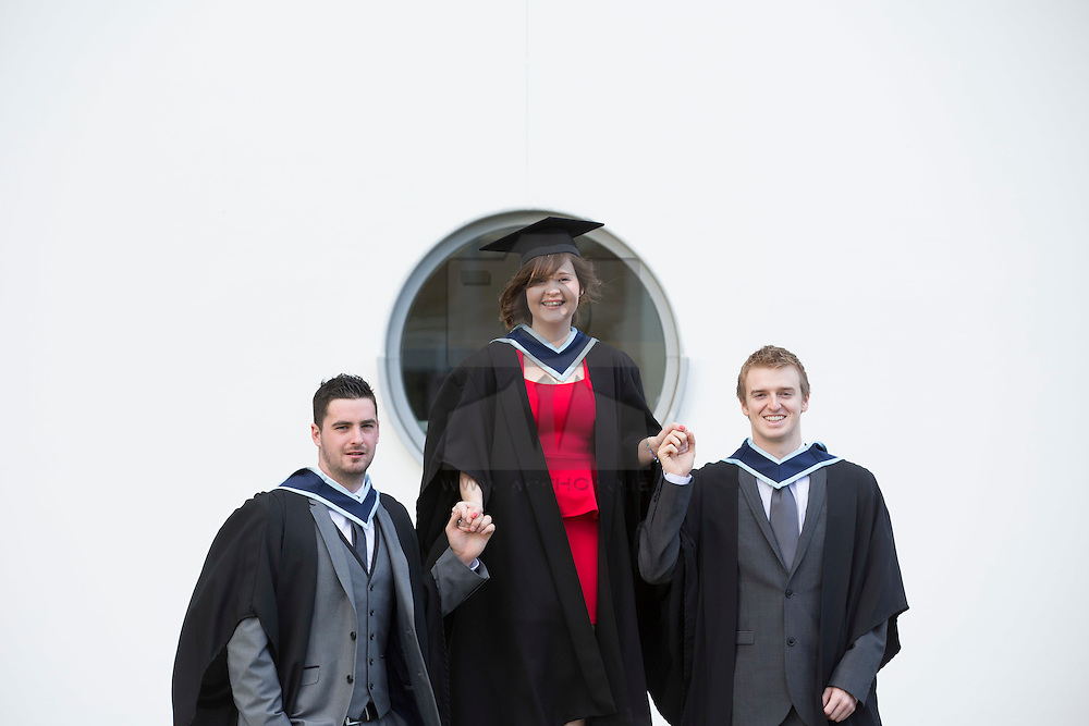 Marcus Bailey from Trim, Michelle Carew from Gilboola Cross, Tipperary and Lee Johnston from Portmarnock pictured at the Institute of Technology Blanchardstown (ITB) 2013 conferring ceremony. 2013 sees the largest number of students being conferred with awards at ITB with over 800 people receiving awards in areas like Mechatronic Engineering, Horticulture, Accounting and Finance, Early Childhood Care and Education and Information Security and Digital Forensics to name but a few. Picture Andres Poveda