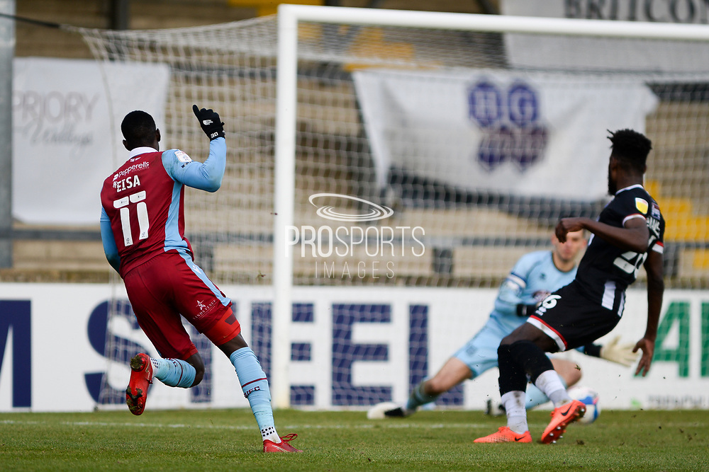 Scunthorpe United Abo Eisa (11) shoots at goal, misses the target during the EFL Sky Bet League 2 match between Scunthorpe United and Grimsby Town FC at the Sands Venue Stadium, Scunthorpe, England on 23 January 2021.