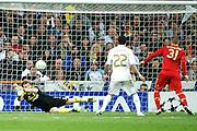 Champions League semi final second leg soccer match between Real Madrid and FC Bayern Munich at the Santiago Bernabeu stadium in Spain - <br /> MADRID 25/04/2012<br /> ESTADIO SANTIAGO BERNABEU.<br /> half final, Halbfinale, Semifinale,  CHAMPIONS LEAGUE<br /> REAL MADRID 2 - BAYERN 1<br /> picture: IKER CASILLAS. DI MARIA. SCHWEINSTEIGER- fee liable image, copyright © ATP QUEEN INTERNACIONAL<br /> <br /> Real MADRID vs Fc BAYERN Match 2:1 und 3:1 im Elfmeterschieflen - and 3:1 in penalty shooting - Queen photographer Fernando ALVAREZ