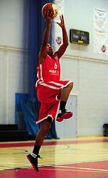 Bristol Academy Flyers' Dwayne Lautier-Ogunleye shoots - Photo mandatory by-line: Dougie Allward/JMP - Tel: Mobile: 07966 386802 23/03/2013 - SPORT - Basketball - WISE Basketball Arena - SGS College - Bristol -  Bristol Academy Flyers V Essex Leopards