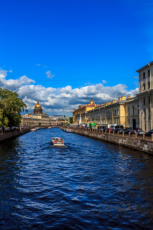 Delightful cruise along the Moika river in St Petersburg, Russia. St. Petersburg has one of the most beautiful architecture in Europe. It is often referred to as the Venice of the North or the Paris of the East.