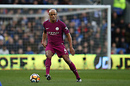 Vincent Kompany of Manchester city in action.  The Emirates FA Cup, 4th round match, Cardiff city v Manchester City at the Cardiff City Stadium in Cardiff, South Wales on Sunday 28th January 2018.<br /> pic by Andrew Orchard, Andrew Orchard sports photography.
