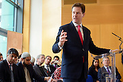 © Licensed to London News Pictures. 24/05/2013. London, UK Nick Clegg, Liberal Democrat MP and Deputy Prime Minister, attends a multi faith gathering with the local multi faith community at the Hugh Cubitt Peabody Centre in Islington London today 24th May 2013. After meeting privately with political and faith leaders he and they made speeches in response to the attack and death of Drummer Lee Rigby in Woolwich, calling for the community to unite against the attack. Photo credit : Stephen Simpson/LNP