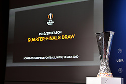 NYON, SWITZERLAND - Friday, July 10, 2020: The UEFA Europa League trophy on display during the UEFA Champions League and UEFA Europa League 2019/20 draws for the Quarter-final, Semi-final and Final at the UEFA headquarters, The House of European Football. (Photo Handout/UEFA)