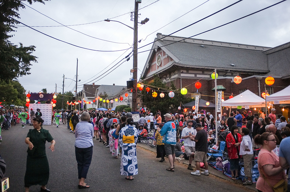 2014 July 19 - People participate in Obon dance at Seattle Betsuin Buddhist Temple, Seattle, WA. By Richard Walker