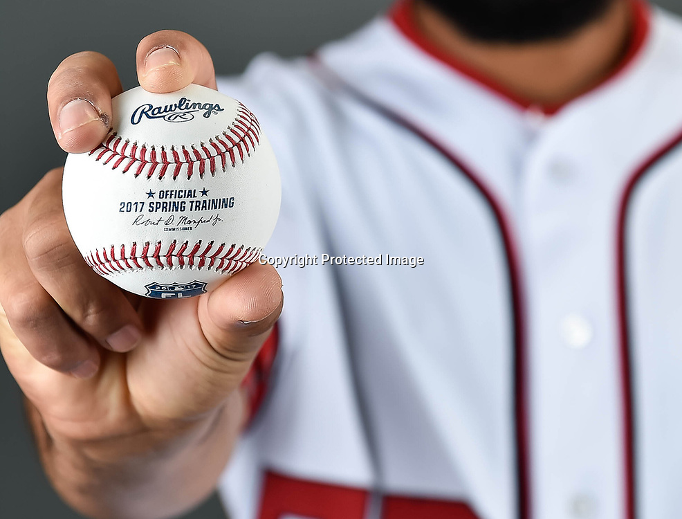 Feb 23, 2017; West Palm Beach, FL, USA; Washington Nationals relief pitcher Jimmy Cordero (52) poses during spring training media day at The Ballpark of the Palm Beaches. Mandatory Credit: Steve Mitchell