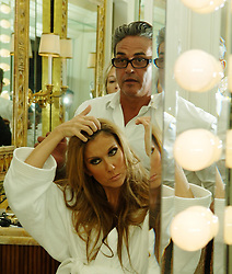 """Celine Dion releases a photo on Twitter with the following caption: """"""""So sad to hear that Oribe has left us.Working with him was such a privilege. My heart goes out to his family and friends. /Je suis triste d'apprendre qu'Oribe nous a quittés. Travailler avec lui était un réel privilège. - Céline xx…<br /> 📸: @DeniseTruscello<br /> https://t.co/7a3Unkr0fe"""""""". Photo Credit: Twitter *** No USA Distribution *** For Editorial Use Only *** Not to be Published in Books or Photo Books ***  Please note: Fees charged by the agency are for the agency's services only, and do not, nor are they intended to, convey to the user any ownership of Copyright or License in the material. The agency does not claim any ownership including but not limited to Copyright or License in the attached material. By publishing this material you expressly agree to indemnify and to hold the agency and its directors, shareholders and employees harmless from any loss, claims, damages, demands, expenses (including legal fees), or any causes of action or allegation against the agency arising out of or connected in any way with publication of the material."""
