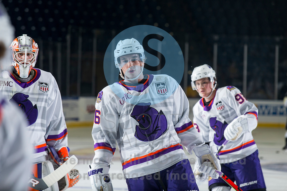 Youngstown Phantoms defeat the Muskegon Lumberjacks 4-3 in overtime at the Covelli Centre on December 5, 2020.<br /> <br /> Jack Larrigan, forward, 16