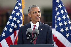 September 11, 2016 - Arlington, VA, United States of America - U.S President Barack Obama speaks during a remembrance ceremony commemorating the 15th anniversary of the 9/11 terrorist attacks at the Pentagon September 11, 2016 in Arlington, Virginia. (Credit Image: © Po2 Dominique A. Pineiro/Planet Pix via ZUMA Wire)