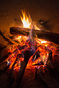 Camp fire in South Luangwa National Park, Zambia