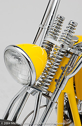 """""""Yellow Knucklehead Chopper,"""" by Arlen Ness. Rigid Custom that Arlen built just for fun. Appears in the Book """"The King of Choppers,"""" by Michael Lichter."""
