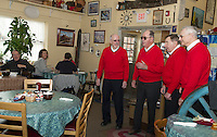 A valentine serenade by the Lakes Region Chordsmen Andy Buchanon, John Richardson, Harvey Beetle and Bob Farnham greeted patrons at Kitchen Cravings in Gilford on Thursday morning.   (Karen Bobotas/for the Laconia Daily Sun)