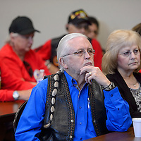Mayor Jackie McKinney listens to the plans for building a VA cemetery in Gallup during a Veterans Town Hall  Meeting at the Second Street Events Center in Gallup Wednesday.