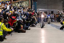 Vintage Technologies' Hawke Lawshe rides his custom 1946 Harley-Davidson Hades Knucklehead in the Grand Entry for the 27th Annual Mooneyes Yokohama Hot Rod Custom Show 2018. Yokohama, Japan. Sunday, December 2, 2018. Photography ©2018 Michael Lichter.
