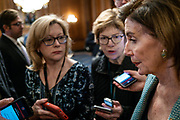 "House Speaker Nancy Pelosi (D-CA) answers questions from reporters following a news conference marking the one year anniversary of the passing of H.R.1, the ""For The People Act"" on Tuesday, March 10, 2020. (photo by Pete Marovich for The New York Times)"