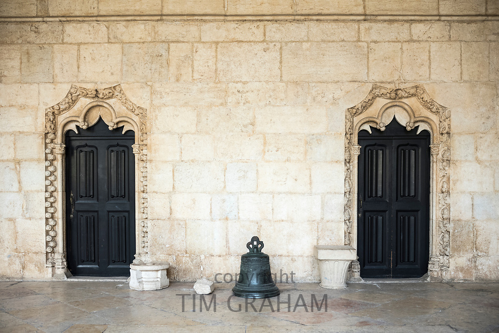 Arched doorways in famous Monastery of Jeronimos - Mosteiro  dos Jeronimos in Lisbon, Portugal