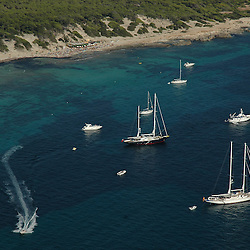 Aerial view of pleasure boats off the coast of Ibiza Spain