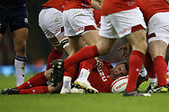 Hadleigh Parkes of Wales in action (on ground). Wales v Scotland, NatWest 6 nations 2018 championship match at the Principality Stadium in Cardiff , South Wales on Saturday 3rd February 2018.<br /> pic by Andrew Orchard, Andrew Orchard sports photography
