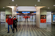 An almost empty Prague main railway station on a normally busy Saturday morning. On March 1st, 2021 the state of emergency in the Czech Republic was reinstalled because of fast increasing numbers in infections. The lockdown was reinstated and the restriction of the free movement of people has taken effect. Currently, the country remains at the highest stage of the anti-epidemiological system and the newly imposed restriction will last at least three weeks to curb the epidemic.