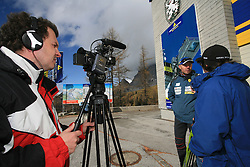 Journalists of Siol Sportal Engelbert Osojnik (left) and Simon Kavcic (right) with Uros Velepec, coach of Slovenian Men Biathlon Team at Dachstein glacier before new season 2008/2009, Austria, on October 30, 2008.  (Photo by Vid Ponikvar / Sportida)