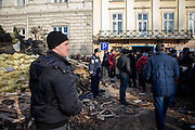 Police and activists at the barrikades in the city center of Lviv, Ukraine.
