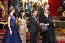 07.07.2015, Royal Palace, Madrid, ESP, Perus Präsident Ollanta Humala bei König Felipe IV, im Bild Spanish Royals King Felipe VI of Spain and Queen Letizia of Spain receive the president of the republic of Peru, Mr. Ollanta Humala Tasso, y Mss. Nadine Heredia Alarcon // during a visit of the President of Peru, Ollanta Humala at Spain's royal family at the Royal Palace in Madrid, Spain on 2015/07/07. EXPA Pictures © 2015, PhotoCredit: EXPA/ Alterphotos/ Victor Blanco<br /> <br /> *****ATTENTION - OUT of ESP, SUI*****