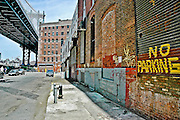 Sight of the Manhattan Bridge pillar from Anchorage Place in DUMBO, Brooklyn, New York, 2008.