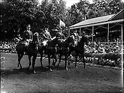 "05/08/1960<br /> 05/08/1960<br /> 05 August 1960<br /> R.D.S Horse Show Dublin (Friday). Aga Khan Trophy. The  Argentine team (l-r):  Lieut-Col. Carlos Deila on ""Huipil""; Jorge Lucardi on ""Stromboli""; Lieut. Naldo Dasso on ""Final"" and Ernesto Hartkopf on ""Baltasar""."