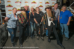 Arizona Bike Week staff with Dusty Hill and Billy Gibbons before the ZZ Top concert at Cycle Fest at Westworld. USA. April 5, 2014.  Photography ©2014 Michael Lichter.
