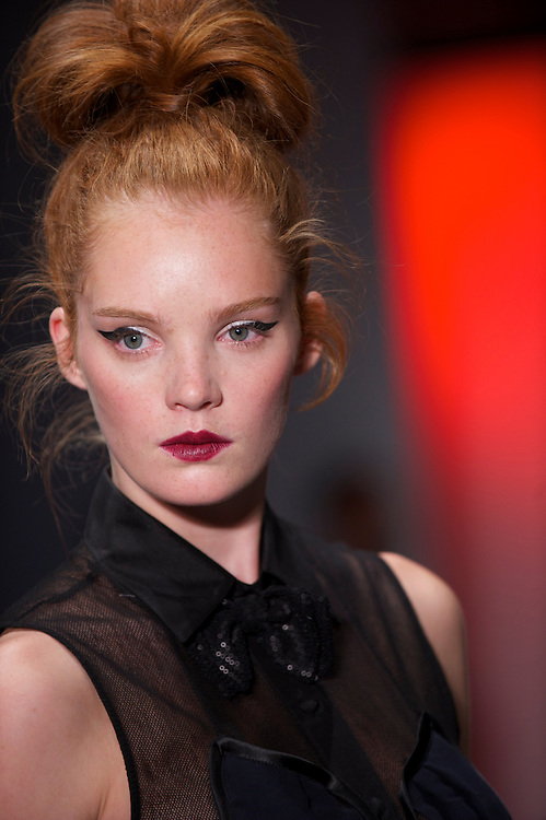 Models exhibit the Bora Aksu spring 2011 collection down the catwalk at the On/Off venue in Bloomsbury Square, London on 17 September 2010.